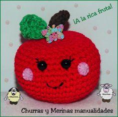 Churras y Merinas Manualidades: Manzana y Pera amigurumi Patrón libre
