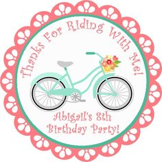 """Bicycle Birthday Party Stickers - 2.5"""" Round"""