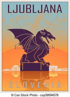 Ljubljana vintage poster in orange and blue textured background with skyiline in white. Singapore Art, Singapore Travel, Poster On, Poster Prints, Unique Poster, Travel Icon, Travel Illustration, Vintage Travel Posters, Free Illustrations