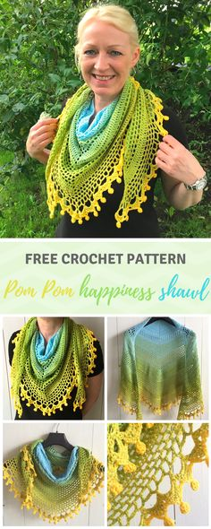FREE crochet pattern to make this pom pom happiness shawl can be found on wilmade.com. INCLUDES A VIDEO TUTORIAL!