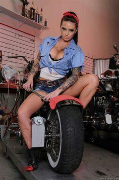 tattoo pinup, motorcycl, biker chick, biker girl, sweet ride
