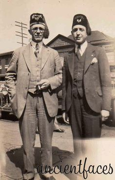 A couple of Freemason Shriners in the 1930's or 1940's proudly wearing their fezzes.