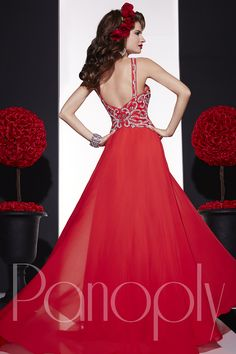 Panoply Style 14668: Grace and beauty never go out of style in this elegant, silky chiffon A-line gown. Complete with plunging sweetheart neckline, pleated bust, and heavenly embellished straps/midriff. #Panoply #prom #pageant #redcarpet #dress