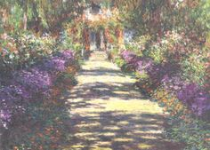 This is so beautiful...Monet had so much inspiration from his garden...you can almost here the birds singing and feel the heat of the sun and the cool of the shade....truly lovely....Garden At Giverny