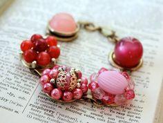 Pink Bracelet Vintage Jewelry Cluster Earrings by belmonili, $35.00