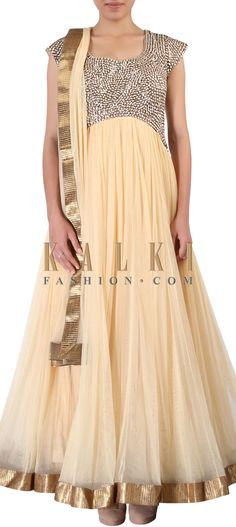 Buy Online from the link below. We ship worldwide (Free Shipping over US$100) http://www.kalkifashion.com/beige-anarkali-suit-adorn-in-kundan-and-sequin-embroidery-only-on-kalki.html