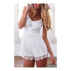 Yoins White Lace Cami Rompers (28 AUD) ❤ liked on Polyvore featuring jumpsuits, rompers, white rompers, white lace rompers, white romper, lacy camisole and lace romper