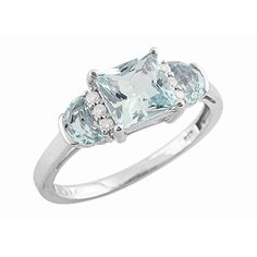 1.25 ct. t.w. Princess-Cut Aquamarine and Diamond Ring in 14k White Gold $319.99