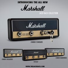 Pluginz teamed up with Marshall to produce a series of officially-licensed wall-mount key racks which look like the fronts of their famed amplifiers. Like their other Jack Racks, your keys hang from 1/4 audio plugs, but these are embellished with the Marshall M logo.