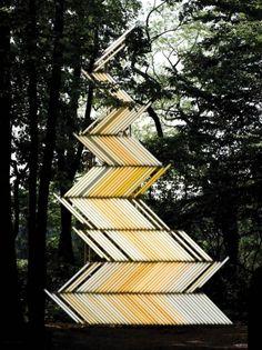 Yochai Mato uses fluorescent tube lighting to create stunning outdoor installations.