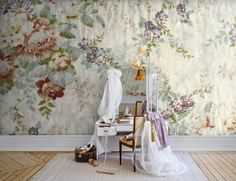 Blossom (P162101-8) - Mr Perswall Wallpapers - A flourishing floral fabric effect mural design. Total mural size 360cm wide x 265cm high.  Paste-the-wall product.