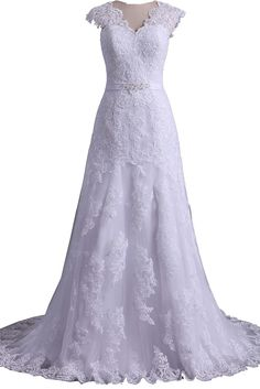 Xfcastle Lace Beach Wedding Dresses A Line Bridal Gowns with Sweep Train W74 at Amazon Women's Clothing store: