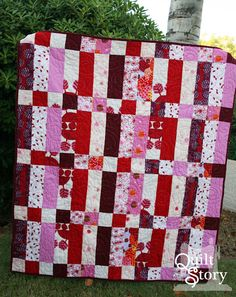 Quilt Story: Be Mine Quilt. Cute, but would change up the widths to make a little more interesting.
