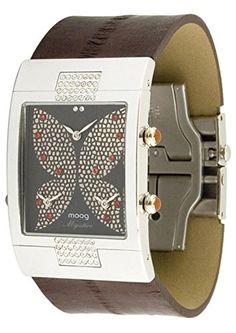 Moog Paris-Schmetterling Damen-Armbanduhr Zifferblatt braun Armband grau Leder Rindleder, hergestellt in Frankreich-m44404-005 - http://uhr.haus/moog-paris/moog-paris-schmetterling-damen-armbanduhr-braun