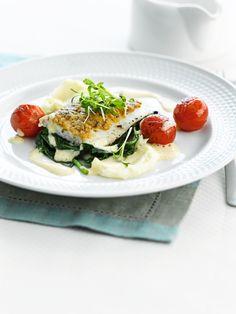 Griet met spinazie en gepofte kerstomaatjes http://njam.tv/recepten/griet-met-spinazie-en-gepofte-kerstomaatjes