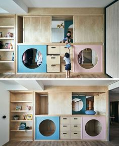 HAO Design have created a unique wardrobe that connects a play room with the children's bedroom. Round-shaped doors allow the children to easily pass through between the rooms, and evoke the joy of playing hide-and-seek. Bedroom Closet Doors, Room Doors, Kid Closet, Wardrobe Closet, Bedroom Wardrobe, Closet Ideas, Wardrobe Ideas, Kids Wardrobe, Wardrobe Design