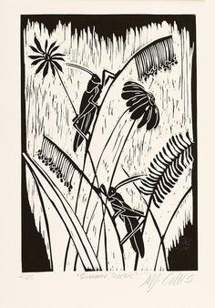 Crickets by Mariann Johansen Ellis Stamp Printing, Screen Printing, Linocut Prints, Art Prints, Block Prints, Illustrator, Linoleum Block Printing, Linoprint, Wood Engraving