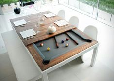 FUSION TABLES: a dining table and pool table all in one. Remove the multi-piece dining top to unveil a beautiful pool table with a contemporary sleek design offering nice wooden and lacquered finishings. Pool Table Dining Table, Pool Table Room, Dinner Table, Outdoor Pool Table, Play Table, White Pool Table, Full Size Pool Table, Patio, Outdoor Dining