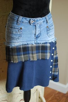 Thrift Store Outfits, Thrift Store Refashion, Recycled Fashion, Recycled Clothing, Recycled Denim, Sweater Refashion, Sweater Skirt, Denim Skirt, Green Plaid Skirt