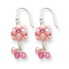 Sterling Silver Pink Freshwater Cultured Pearl, Pink Crystal, & Pink CZ Dangle Earrings