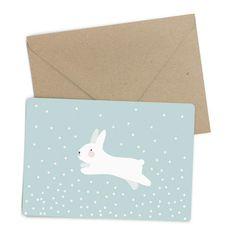 Carte postale lapin bleu par Eef Lillemor à retrouver dans la boutique La Rose Pourpre - papeterie - Rabbit postcard - Online Shop -Paiement sécurisé et retour facile !