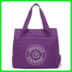 Qflmy Womens Large Waterpoof Nylon Lightweight Casual Tote Handbag Purse Shoulder Bag (Purple) - Totes (*Amazon Partner-Link)