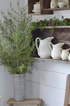 Ironstone and Christmas greenery farmhouse style primitive @flatcreekfarmhouse