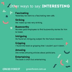 Synonyms to the word INTERESTING Other ways to say INTERESTING
