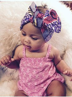 Baby Girl Headwrap Turban African Ethnic Geo Batik Print Head Wrap Headband Bow Trendy Girl Fashion
