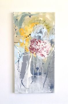 """Toile abstraite, art abstrait, Canvas, vertical, Contemporary art, Urban, 12""""x24""""x0,75"""", acrylique sur toile, fait au Québec, rectangle de la boutique IKOUart sur Etsy"""