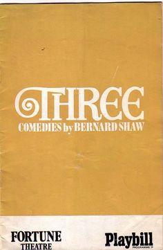 Three Comedies by Bernard Shaw Fortune Theatre Programme 1970   Ref.574