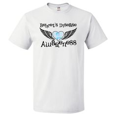 Behcet's Disease Awareness T-Shirt featuring fighter wings and an awareness ribbon over the heart tattoo-style design for advocacy #BehcetsDisease #BehcetsDiseaseShirts #BehcetsDiseaseAwareness