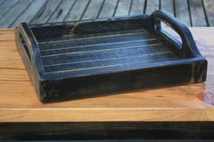 Rustic Handmade Wooden Serving Tray  Black by WorkbenchCo on Etsy, $39.95