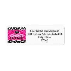 Personalized Pink Black Zebra Graduation Party Custom Return Address Labels