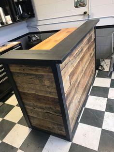 Desks - Barn Doors and Custom Furniture Barber Shop Interior, Salon Interior Design, Basement Bar Designs, Home Bar Designs, Diy Home Bar, Bars For Home, Diy Pallet Furniture, Custom Furniture, Home Bar Plans