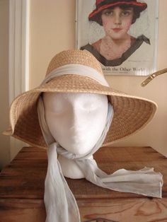 057b3384f6e25 Vintage Kleinerts Straw Brim Hat 1950's Great for Costume Regency Jane  Austin Era