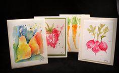 Original Watercolor Fruit and Veggie Note by McKinneyx2Designs