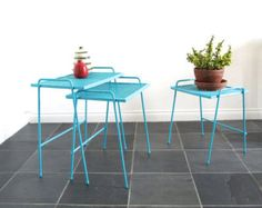 Vintage Metal Patio Furniture - Small Metal Tables - Stacking Side Bench - Nesting Tables