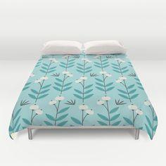 Blue Blooms Duvet Cover by Elizabeth Olwen - $99.00