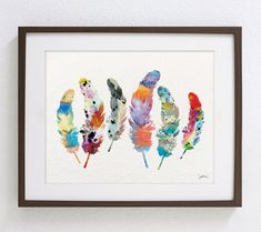Art Watercolor Painting  Whimsical 6 Feathers  8x10 by ElfShoppe