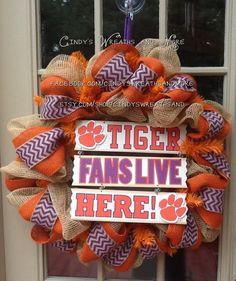 Clemson, Tiger Fans Live Here, Burlap Mesh and Burlap Fall Wreath