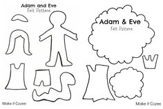 Adam and Eve Crafts. 12 Adam and Eve Crafts. Make It Cozee Adam and Eve Felt Story [free Pattern] Felt Stories, Bible Stories, Sunday School Lessons, Sunday School Crafts, Bible Quiet Book, Quiet Books, Adam And Eve Craft, Sunday School Coloring Pages, Bible Activities