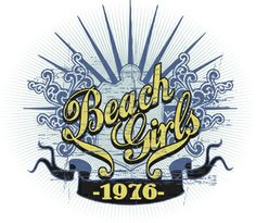 Text beach girls in abstract background royalty free image in vector graphic for t-shirts and apparel products.