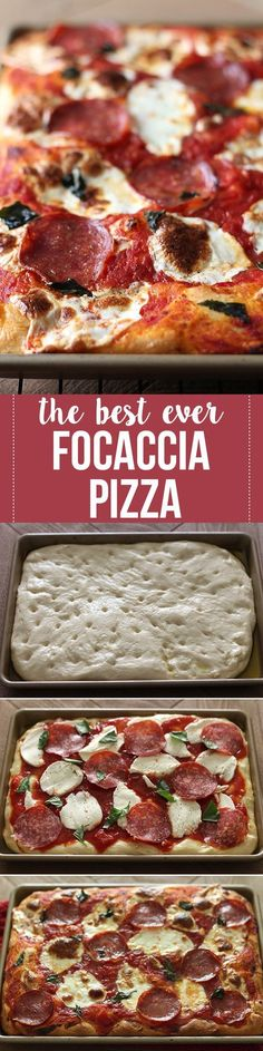 Our new FAVORITE pizza recipe! Thick and chewy homemade focaccia crust topped with easy tomato sauce and mozzarella. You'll LOVE it!