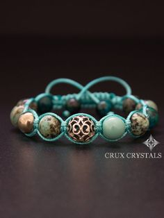 African Tirquoise Women's Beaded Shamballa by CruxCrystals on Etsy