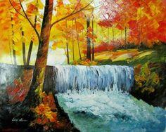Leonid Afremov Waterfalls Original Oil Painting on Canvas Forest Park   eBay