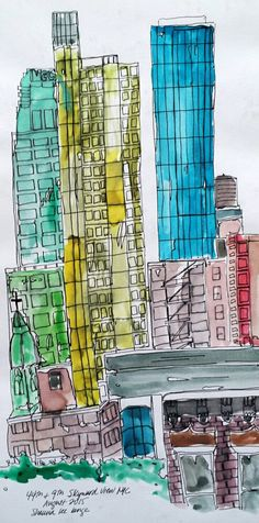 Hello kitchen nyc watercolor sketch art journal visual diary