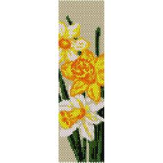 Daffodils Peyote Bead Pattern, Bracelet Cuff Pattern, Bookmark, Seed Beading Pattern Miyuki Delica Size 11 Beads - PDF Instant Download by SmartArtsSupply on Etsy