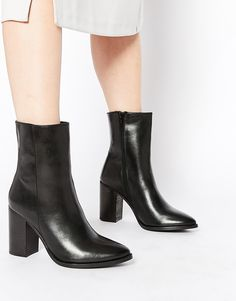 Park Lane Point Heeled Leather Ankle Boots