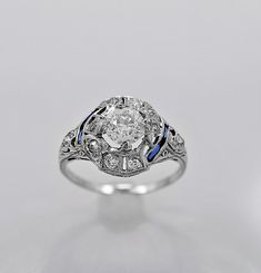 Antique Engagement Ring .82ct. Diamond, Sapphire & Platinum Art Deco - Antique Vintage Jewelry